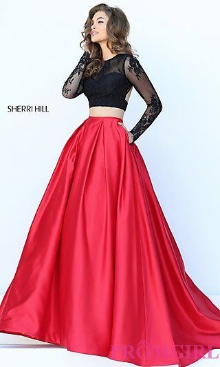Open Back Long Sleeve Two Piece Dress by Sherri Hill at PromGirl.com