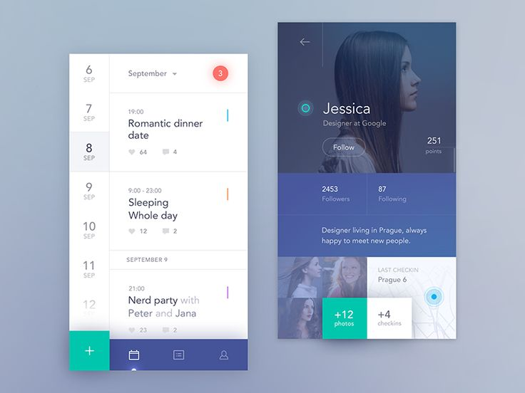 Next and probably not last iteration of design for Social Calendar app project.  Behance Twitter Facebook