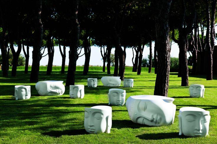 Tavolino Pacifico e pouf Beato 21st Living Art. Colore Bianco.