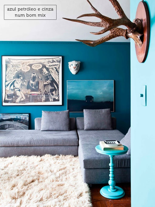 blue walls + grey couch = my exact colors...add a muted dark purple, a greyish purple...and the JOY! my living room!