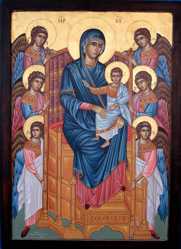 Theotokos Θεοτόκος surrounded by angels #icône
