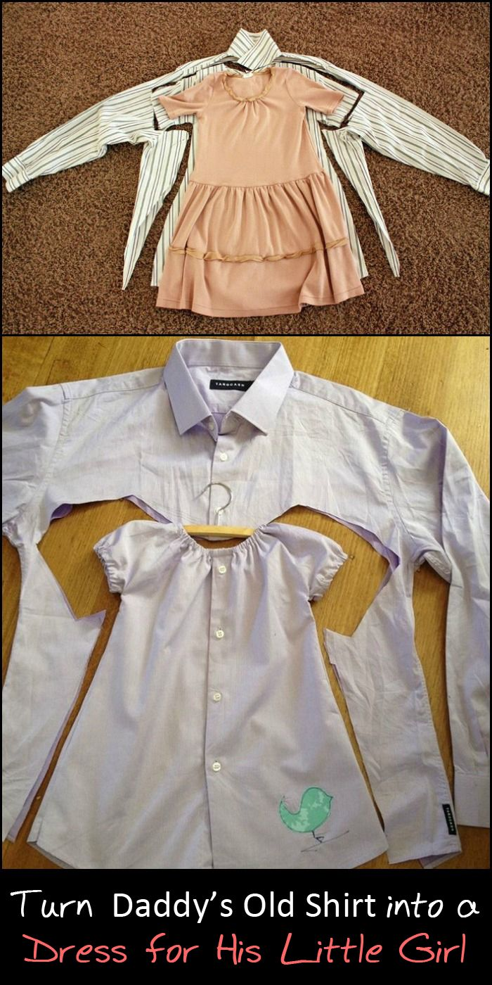 Turn one of daddy's shirts into a dress for his little girl!