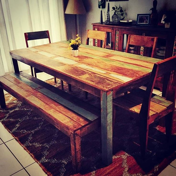 Dining Tables Made Entirely From Original Old Solid Wood Add Character And Colour To Your Home Reclaimed FurnitureFurniture DecorDubai