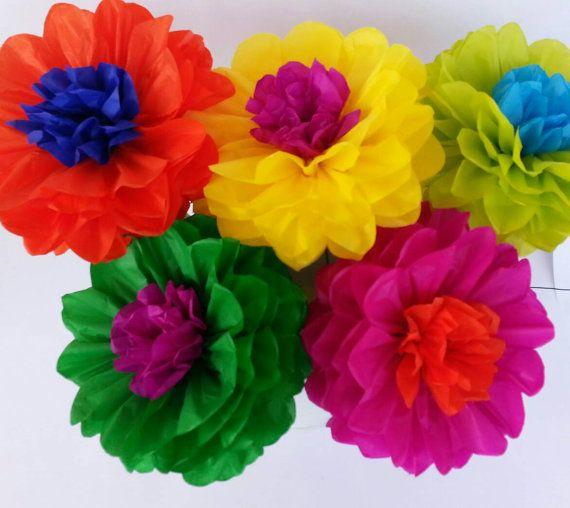 Tissue Paper Fiesta Flowers  Set of 10 flowers by PomGarden