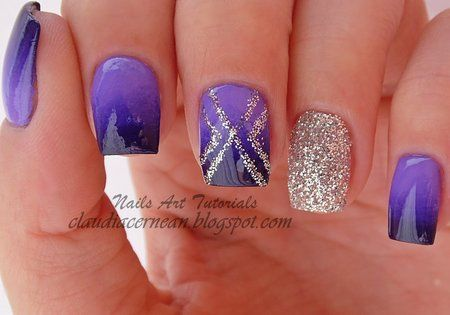 Ombre Nails in blue and glitter #nailblogger #nailart #polish #manicure - See more nail looks at bellashoot.com share your faves!