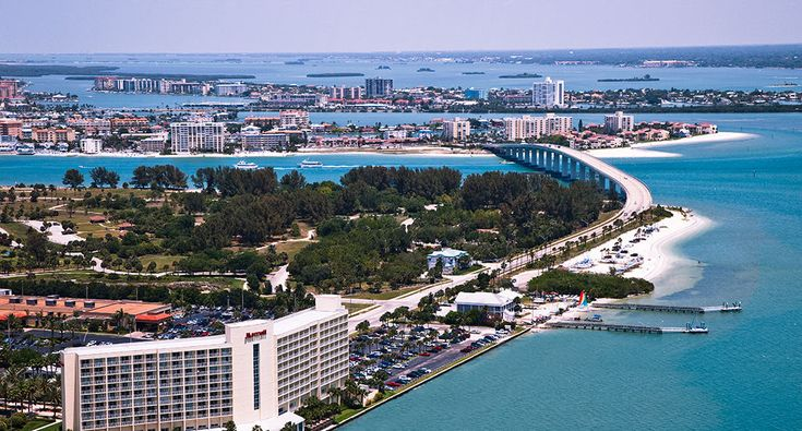 The Clearwater Beach Marriott Resort in Clearwater Beach Florida is a beachfront hotel on Sand Key.