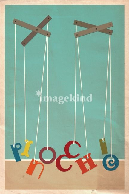 """Pinocchio"" by Megan RomoSparks, NV // The playful yet ironic design of this colorful print makes it pleasing to kids and grown-ups. This artistic tribute to a family favorite brightens up its space with minimalist design and fanciful flair. // Imagekind.com -- Buy stunning, museum-quality fine art prints, framed prints, and canvas prints directly from independent working artists and photographers."