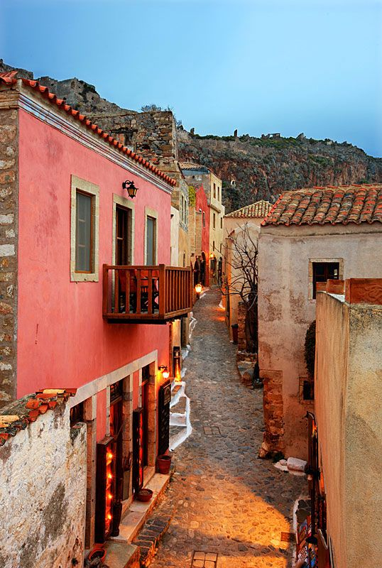 Monemvasia, Greece- looks warm and like i could find a delicious meal and glass of wine around the corner...