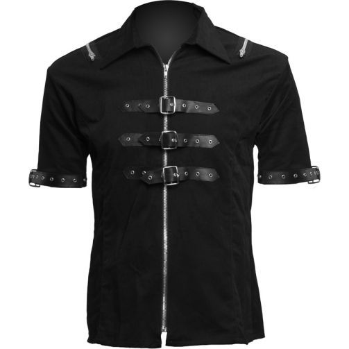 Shackle shirt denim with straps, from the Black Pistol men's clothing collection by Aderlass.
