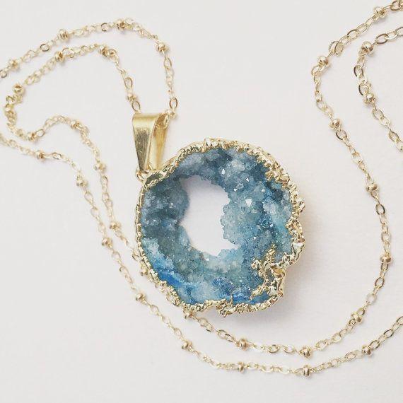 Collar largo Aqua Druzy colgante piedra Natural turquesa grande, Ocean Beach de Geode, joyería de la estratificación, inspirado