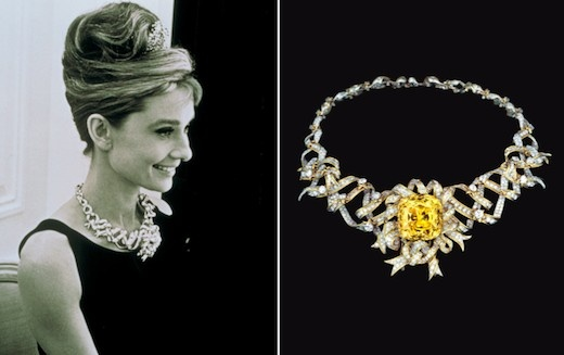 e058b8bc6 The Tiffany Diamond, set in a necklace, modeled by Audrey Hepburn   Baubles    Tiffany, Colored diamonds, Jewelry