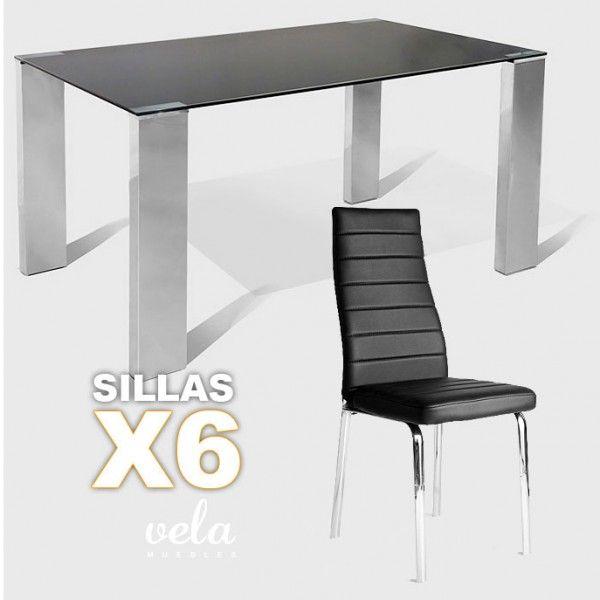 Conjunto de mesa y sillas de comedor. Mesa fija con estructura en madera recubierta de acero inoxidable y encimera de cristal templado negro de 10mm. Silla de comedor con patas cromadas y tapizado en polipiel negra de alta calidad y efecto suave.