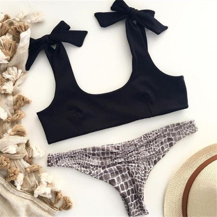 Leopard Bikini Black Sexy Bandage Swimsuit Bathing Suit