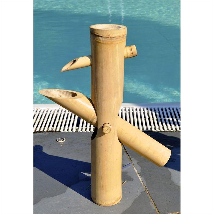 Fontaine japonaise en chaume de bambou, beige l. 40 x H. 50 cm