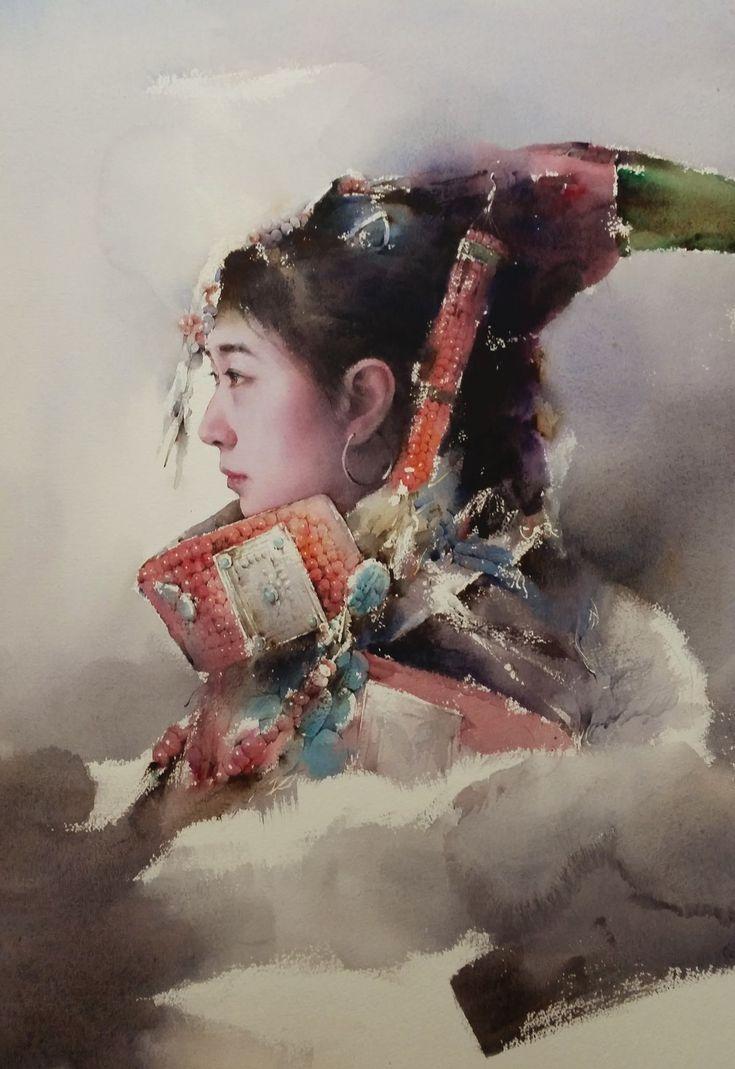 54 b sta bilderna om watercolor humans p pinterest for Aquarelliste chinois