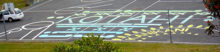 Temporary design on school courts for Waitangi Day celebration Feburary 2015