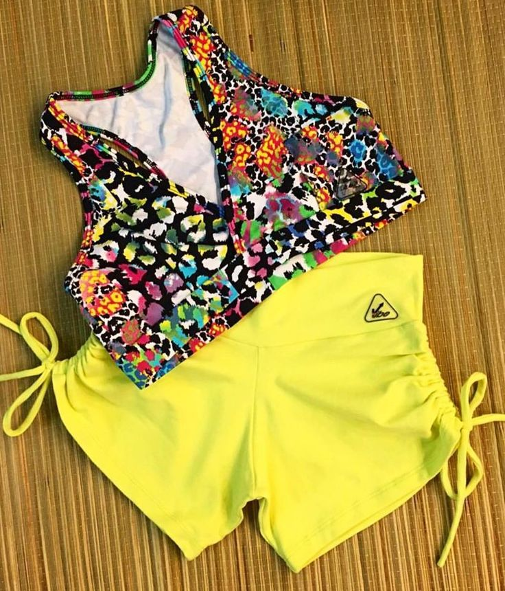 Bikram Yoga clothes yellow neon short shorts and colorful animal prints racerback top. Sexy women's yoga fashion dance wear workout outfit Available at www.upvibe.com