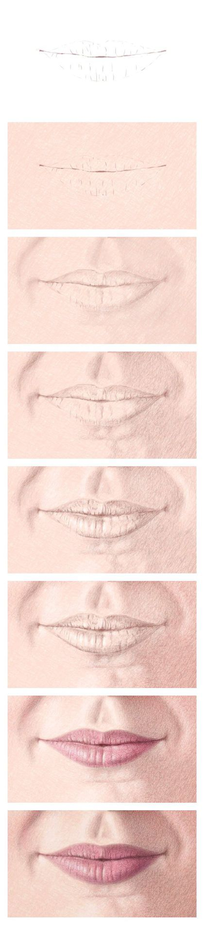 Drawing the Mouth with Color Pencils – Steps 1-8