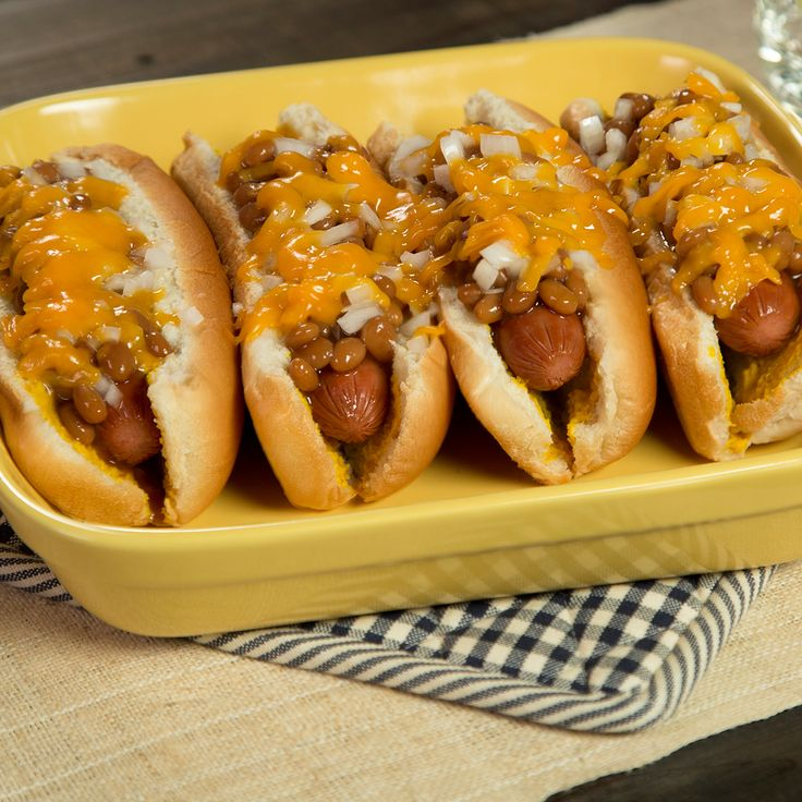 This cheesy one-dish hot dog bake topped with BUSH'S Baked Beans and ...
