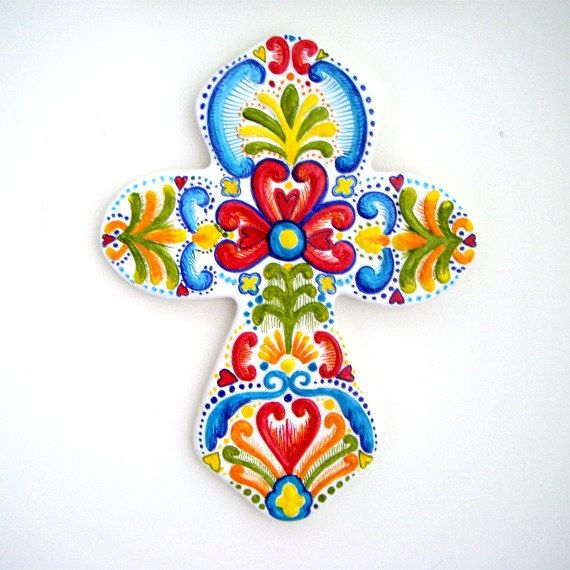 Ceramic cross hand painted Swedish folk art Celtic Cross Turquoise Blue Yellow Red Hearts Wall Hanging via Etsy.