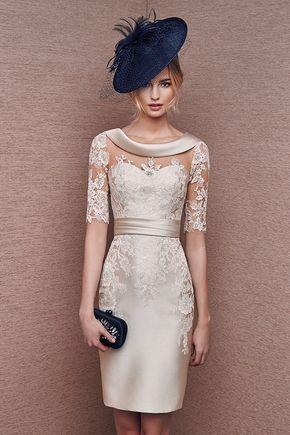 Vestido color crema en mikado y encaje modeo 6628 de It's My Party by It's My Party | Boutique Clara