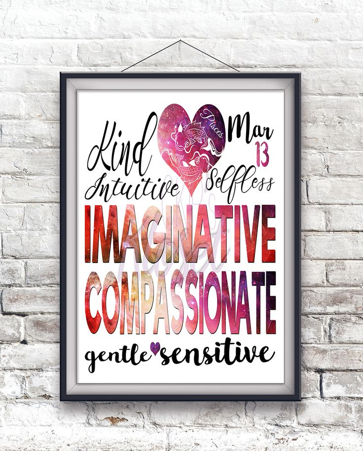 """Personalized Birth Date """"Pisces Personality Character Traits"""" 