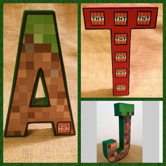 Check out this item in my Etsy shop https://www.etsy.com/listing/229703989/minecraft-paper-mache-letter-party-decor