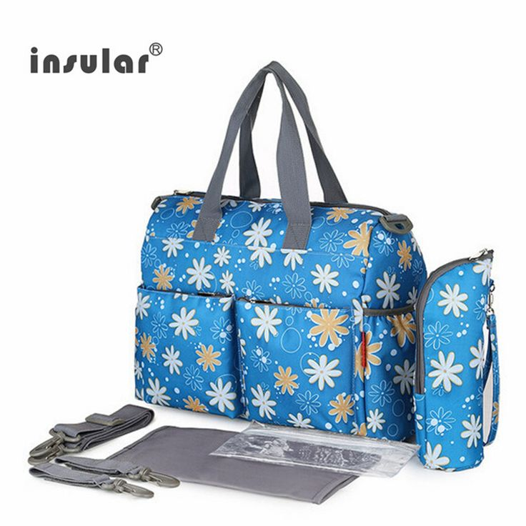 2017 NEW  arrival Fashion Mother Bag Baby Nappy Bags Large Capacity Maternity Mummy Diaper Bag Cotton Flower Style  6pcs/set