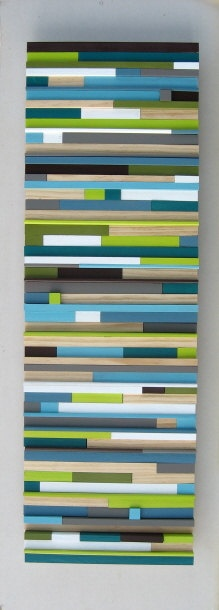12x36 Painted Wood Modern Wall Art Sculpture. Reuse the old timbre cut offs and glue to a thin backing