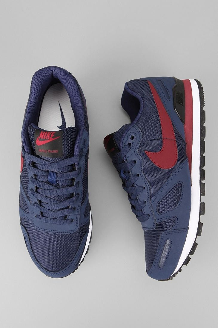 Great color contrast, subdued - Nike Air Waffle Trainer: Dark Navy/Burgundy