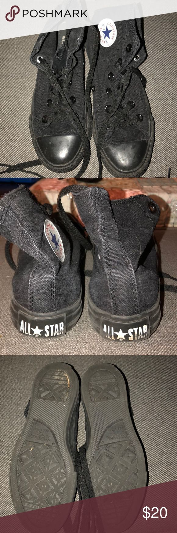 All black high top converse All black high top converse only worn a few times Converse Shoes Sneakers