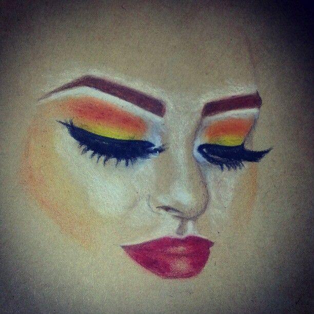 Sketching mua look I saw today.  #doodling #sketch #drawing #makeup #art #illustration #prismacolor