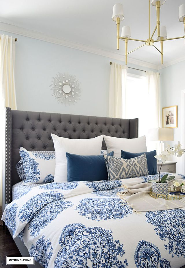 grey upholstered bed with blue and white bedding 53 best Master Bedroom images on