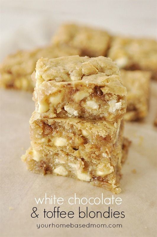 White Chocoalte & Toffee Blondies are a delicious combination of white chocolate chips and toffee bits in a blonde brownie.
