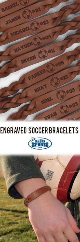 The soccer squad will look awesome in these custom leather bracelets! They make a great end-of-season gift!