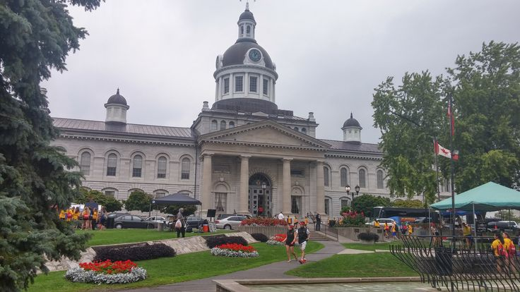 Kingston City Hall. Most of those people are students.  We got there the day of frosh week.