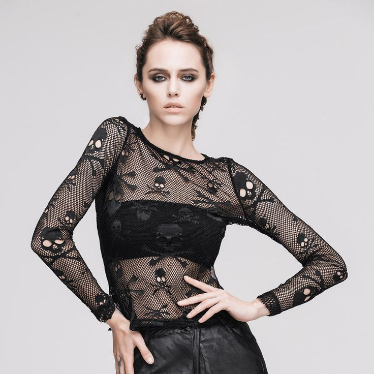 The new steampunk gothic street punk printing skull hollow out t-shirts female perspective sexy T-shirt