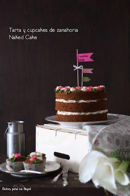 """Una tarta con cupcakes """"a juego"""" para la madre de mi amiga María. Son Naked cake, es decir, tarta desnuda pero con una espectacular presenci..."""