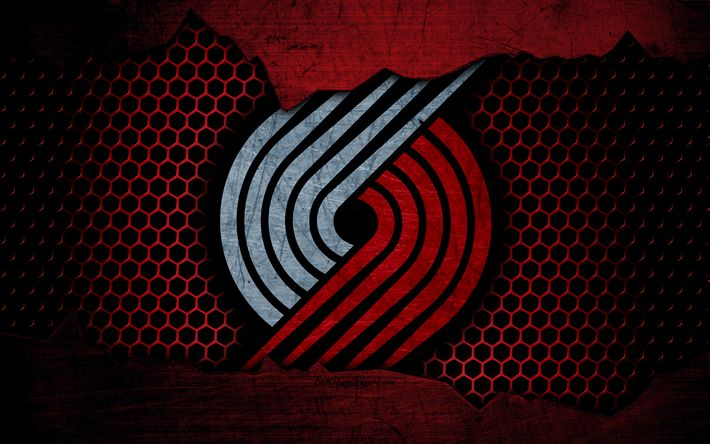 Download wallpapers Portland Trail Blazers, 4k, logo, NBA, basketball, Western Conference, USA, grunge, metal texture, Northwest Division