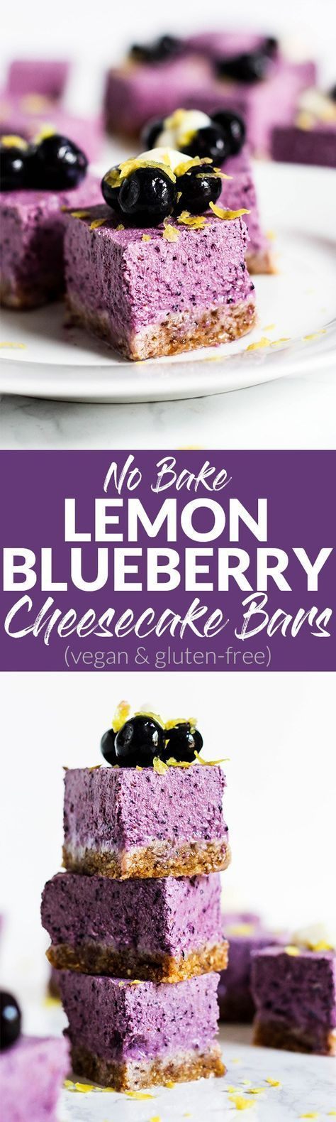 A perfect summer dessert, these No Bake Lemon Blueberry Cheesecake Bars are refreshing & full of fruity flavor! They're vegan, gluten-free & easy to make.