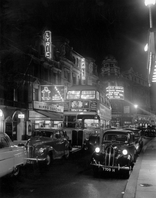 Shaftesbury Avenue 1950s with a London bus!!