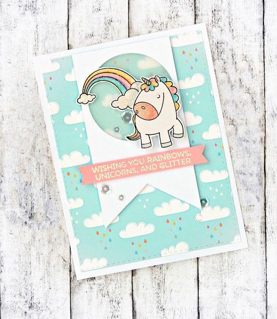 Magical Unicorns - My Favorite Things Rainbows, Unicorns and Glitter - MFT Handmade Card