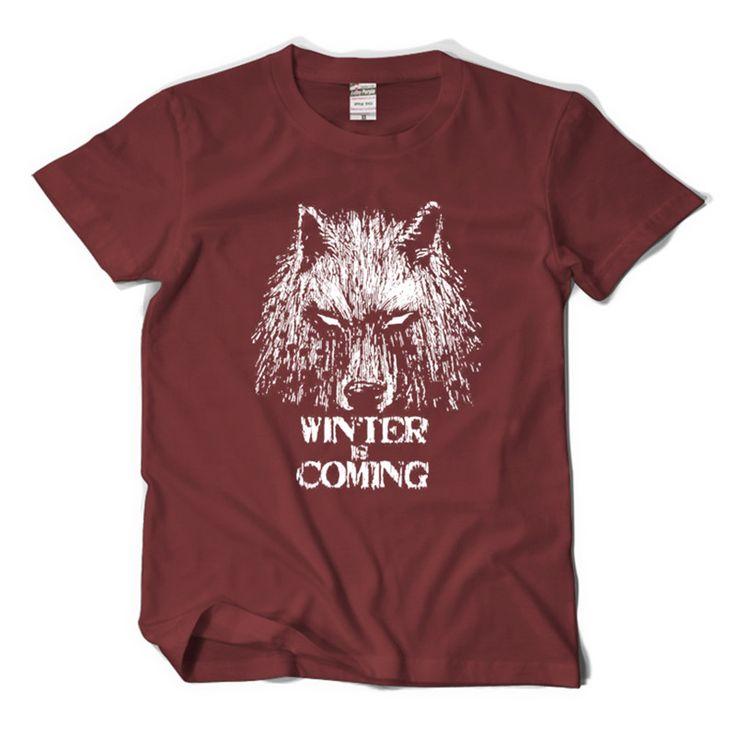 Game of Thrones Winter is Coming Men's T shirt Jon Snow Direwolf Tee George Martin Fans wear #Affiliate