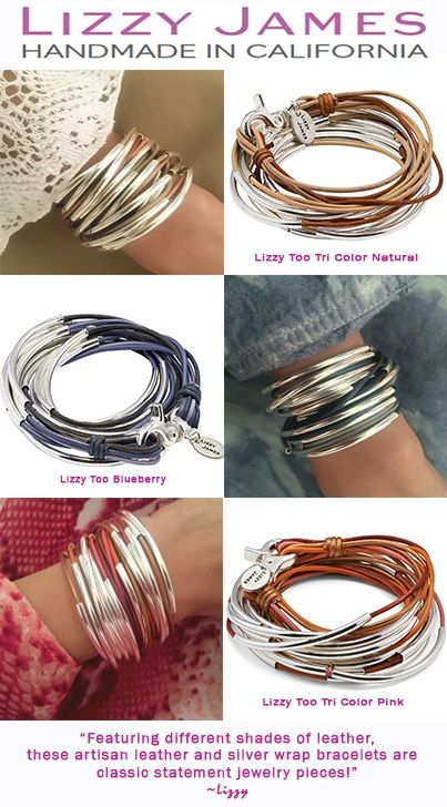 Lizzy James jewelry introduces a NEW design! The LIZZY TOO!!! This wrap bracelet is designed with silverplate crescents and multi-colored leather strands. This artisan leather and silver wrap bracelet is available in several color combinations. This is a classic statement jewelry piece! http://lizzyjames.com/products/lizzy-too-5-strand-purple-wrap-bracelet-necklace #LizzyJamesinc