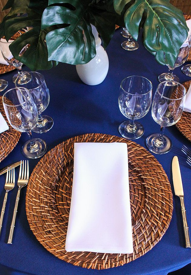 Tropical Summer Tablescape   Tropical table setting   Rattan charger plates   Tropical decor