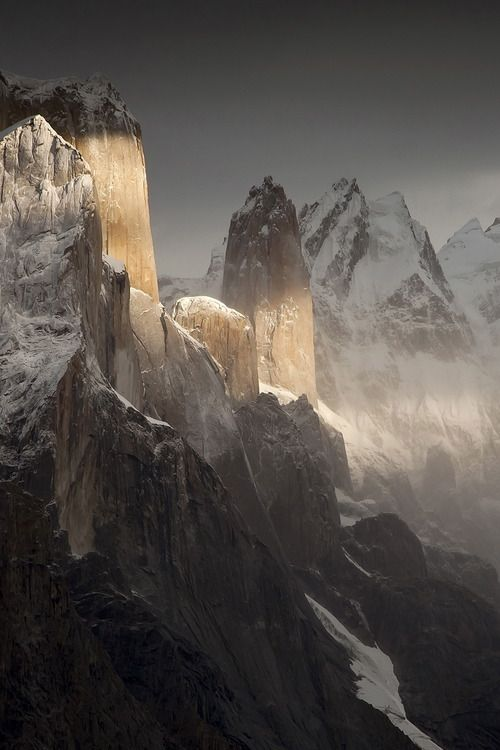Trango Towers, Himalayas of Baltistan, a region of the Gilgit-Baltistan territory in northern Pakistan.