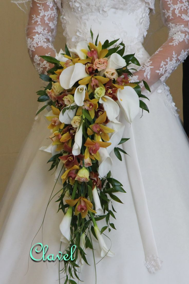 wedding flowers, bridal bouquet, calla lilies, orchids, dendrobium, brown wedding