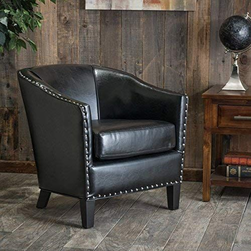 Modern Austin Black Bonded Leather Club Chair With Silver Studs Line The Base And Sides This Attractive Exudes Old World Charm A Casual Elegance
