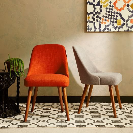 Mid-Century Dining Chairs, Heathered Weave, Cayenne $250 each | West Elm