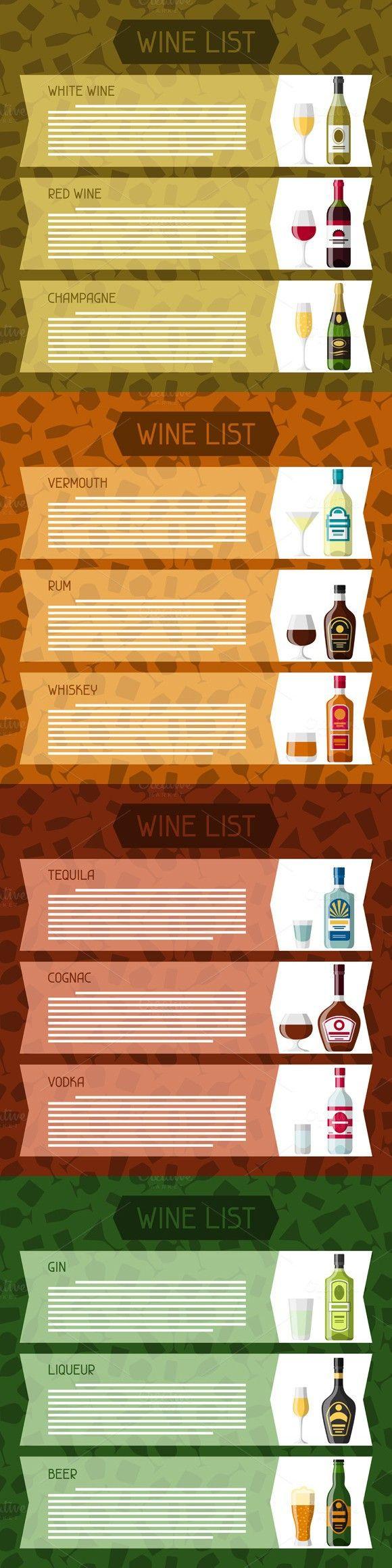 Alcohol drinks menu or wine list.